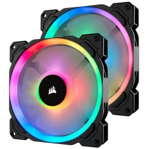 Corsair CO-9050074 LL140 Dual Light Loop RGB LED 140mm PWM Fan - Twin Pack with Controller