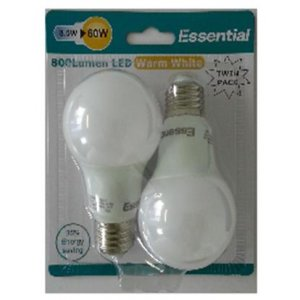 Essential E27 8.5W (60W) 800 Lumen LED Light Warm White 85% Energy saving TWIN PACK
