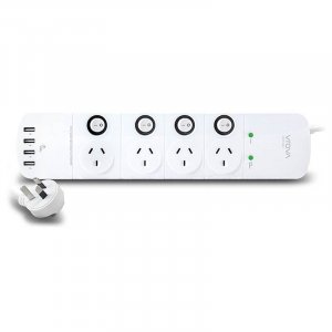Alogic 4 Outlet Power Board with Individual Switches & 4 USB Ports (4.5A) -