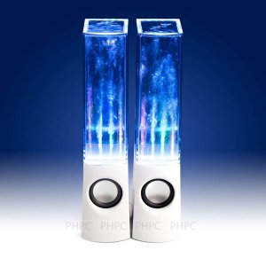 Water Dancing Speakers 2X Usb Powered Led Water White
